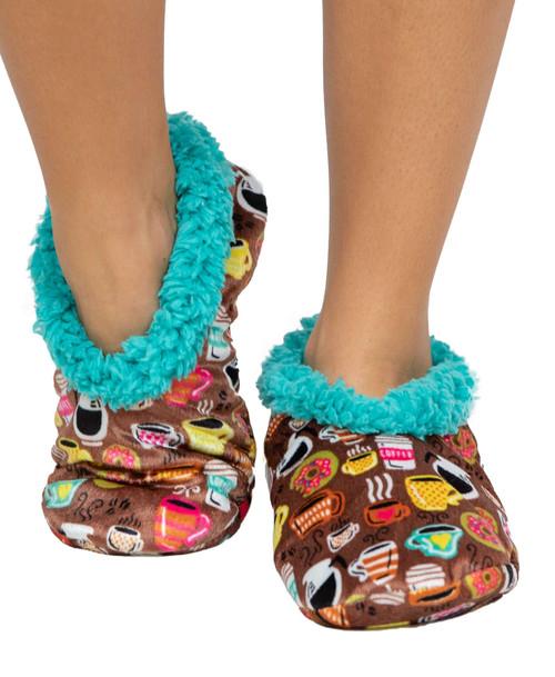 Latte Sleep Coffee Fuzzy Feet Slippers