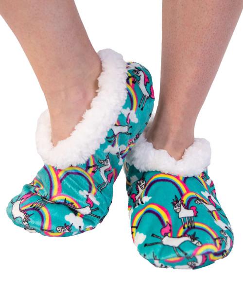 Unicorn Fuzzy Feet Slippers