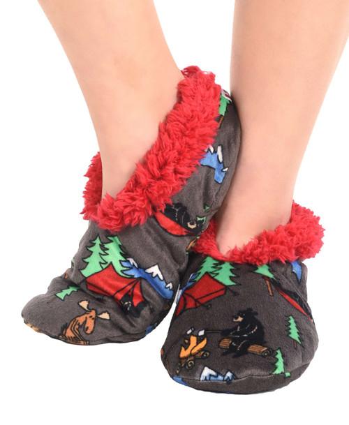 Happy Camper Fuzzy Feet Slippers