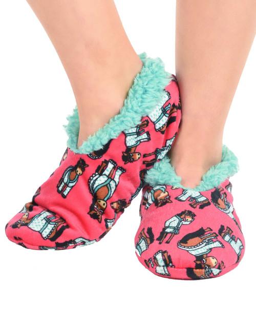 Don't Do Mornings Horse Fuzzy Feet Slippers