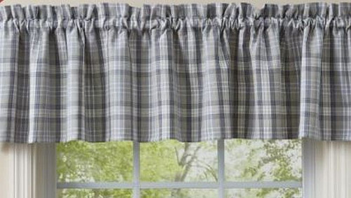 """Park DesignsHartwick Valance  The colors of gunmetal, dove gray, tan and candlelight white Dimensions:72 x 14"""" 100% Cotton"""