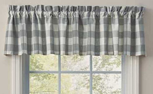 "Park Designs WIcklow Dove Unlined Valance 72 x 14""  Dimensions:72 x 14"" Includes a 1.5in header and 2in rod pocket. 100% Cotton"