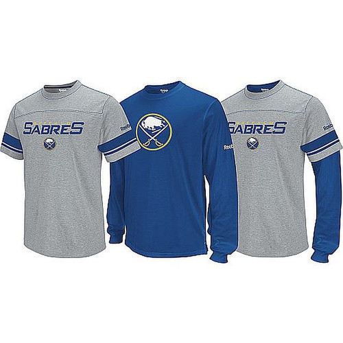 NHL Buffalo Sabres  3 In 1 Combo Gray & Blue 3 Looks,2 Shirts, One Price Wear it as a S/S Tee, a Long Sleeve Tee, or as a Combo 90% Cotton, 10% Polyester
