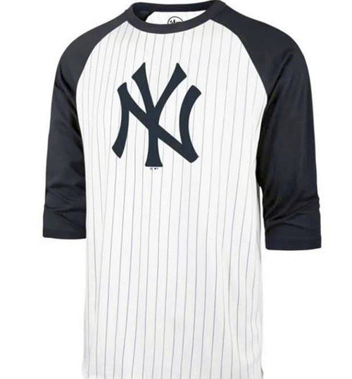 NY Yankees 47 Whitewash Pinstripe Raglan Shirt 100% Cotton Tagless Neck Label Officially Licensed By MLB