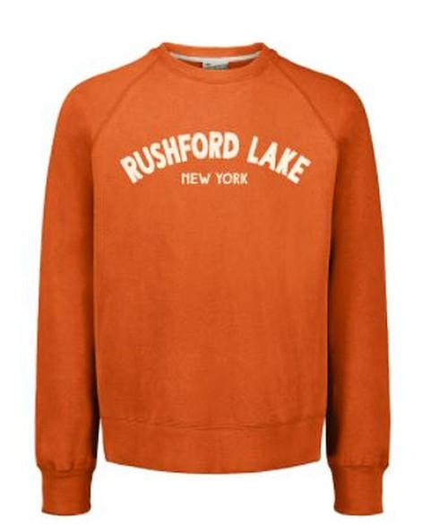 Vintage Fleece Raglan Crew SweatShirt Color:Orange Crew Neck Rushford Lake New York  Available Colors: Vintage Orange Vintage Blue (Navy) Vintage Sun Ray