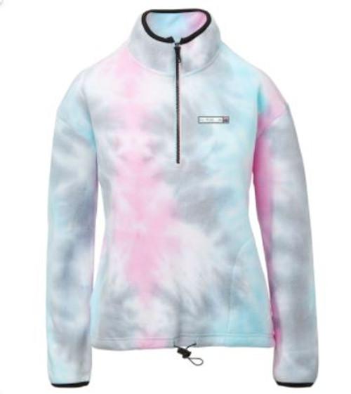 Rushford Lake Color: Pastel Tie Die Ladies 1/4 Zip Polar Fleece Patch Over Heart W/Rushford Lake in Different Colors