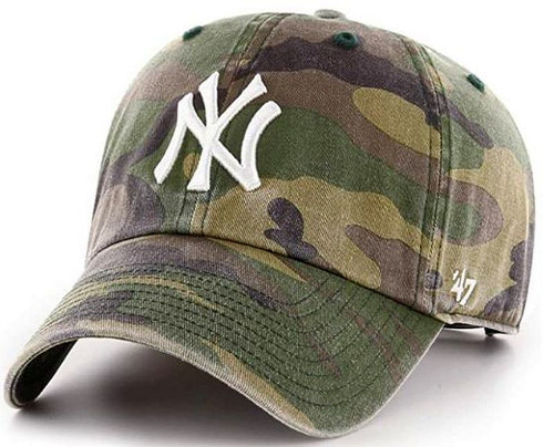 NY Yankees Camo Hat White Embrodery on Crown of Hat Adjustable Strap on Rear of Hat One Size Fis Most Item #:2011-18