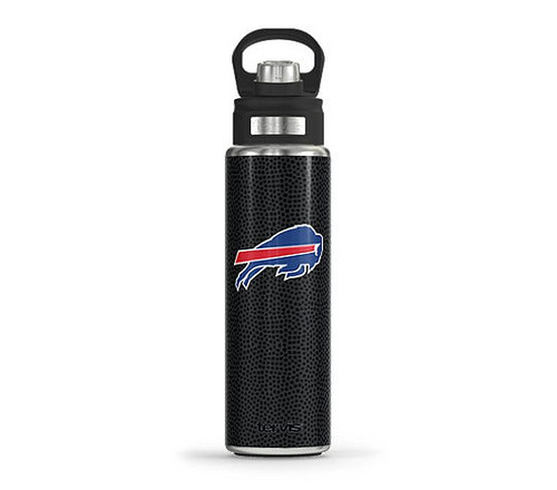 Buffalo Bills  Black Leather Stainless Wide Mouth Bottle W/Spout Lid