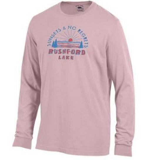 Rushford Lake Sunsets & No Regrets  Color: Hush Pink Long Sleeve Tee