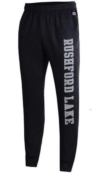 Rushford Lake Black Fleece Jogger W/ White &  Black Ink  Color: Black Jogger By Champion