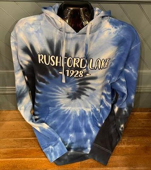Rushford Lake Blue Swirl Tie Dye Hoodie