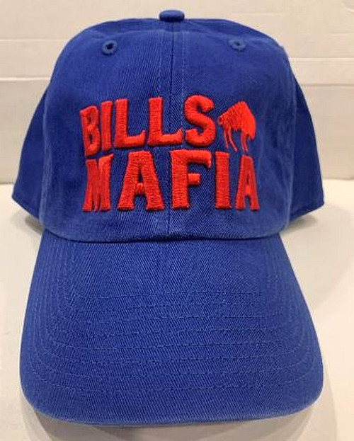 Buffalo Bills Mafia Embroidered Hat Relaxed and curved Adjustable Strap on Back Raised Embroidery on the Front Official License Product! One Size Fits Most