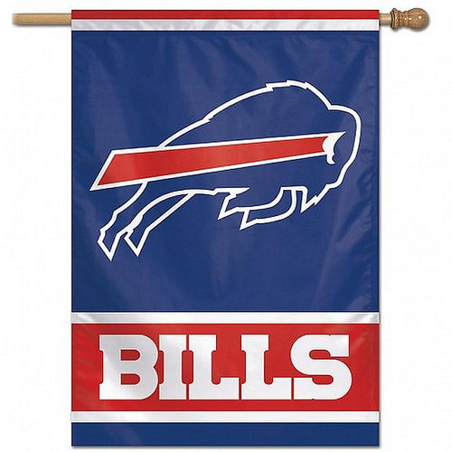 """This ONE SIDED CHARGING BUFFALO House Flag measures 28"""" x 40"""" Officially licensed Premium Quality For Indoor Or Outdoor Use Vibrant Colors WOODEN POLE NOT INCLUDED!"""