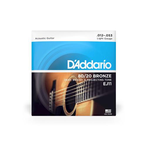 D'Addario Acoustic Guitar Strings Light Gauge 80/20 Bronze EJ11 12 - 53