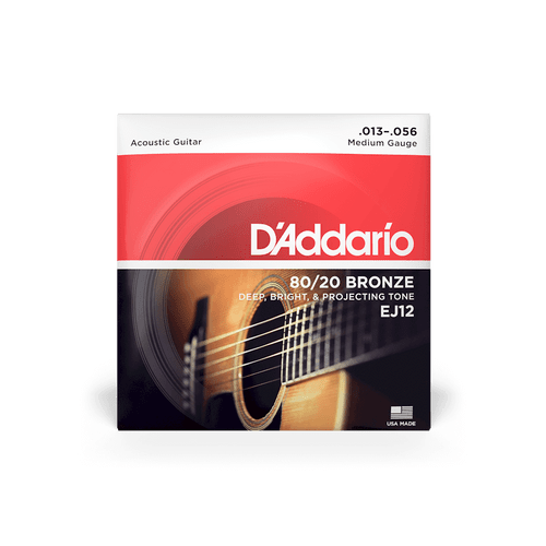 D'Addario Acoustic Guitar Strings Medium Gauge EJ12 80/20 Bronze 13 - 56