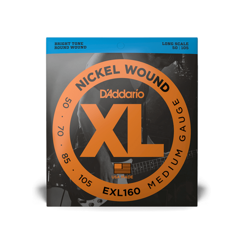 D'Addario Bass Strings Medium Gauge ELX160 Nickel-Wound 50-105 Long Scale