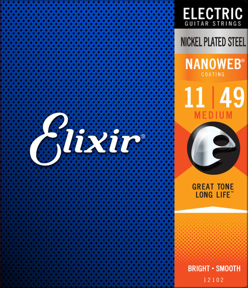 Elixir® Strings Electric Guitar Strings with NANOWEB® Coating, Medium (.011-.049)
