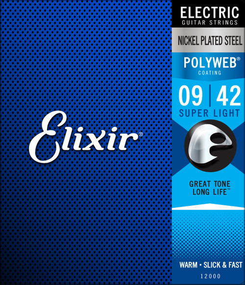 Elixir® Strings Electric Guitar Strings with POLYWEB® Coating, Super Light (.009-.042)