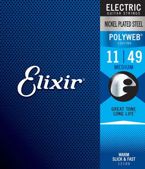 Elixir® Strings Electric Guitar Strings with POLYWEB® Coating, Medium (.011-.049)