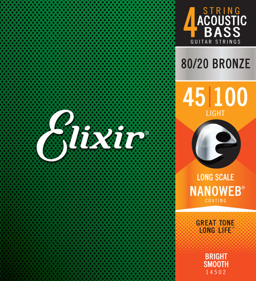 Elixir® Strings 80/20 Bronze Acoustic 4-String Bass Strings w NANOWEB® Coating, Long Scale, Light (.045-.100)