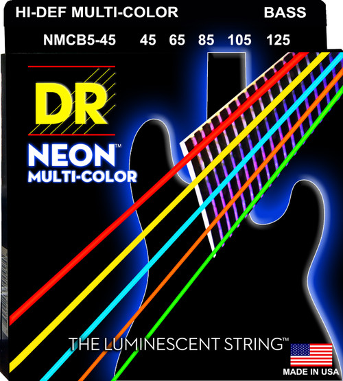 DR Hi-Def NEON Multi-Color: Coated Bass Strings: 45, 65, 85, 105, 125