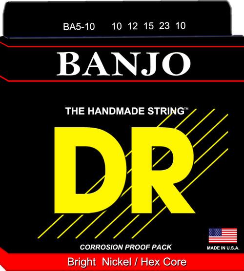 BANJO 5 String: 10, 12, 15, 23, 10 BA5-10 Bright Nickel/Hex Core