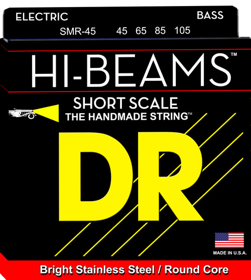 DR Hi-Beams Bright Stainless Steel/Round Core 45-105 Bass Strings SMR-45 45 65 85 105 Short Scale
