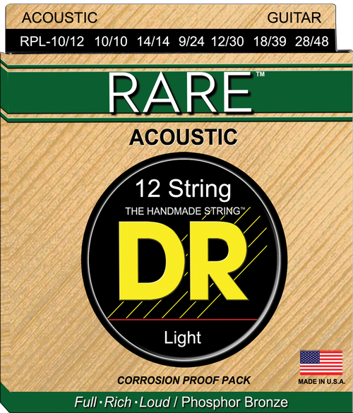 DR Acoustic Rare Phosphor Bronze Corrosion Proof Pack 10-48 12 String Light 10-48