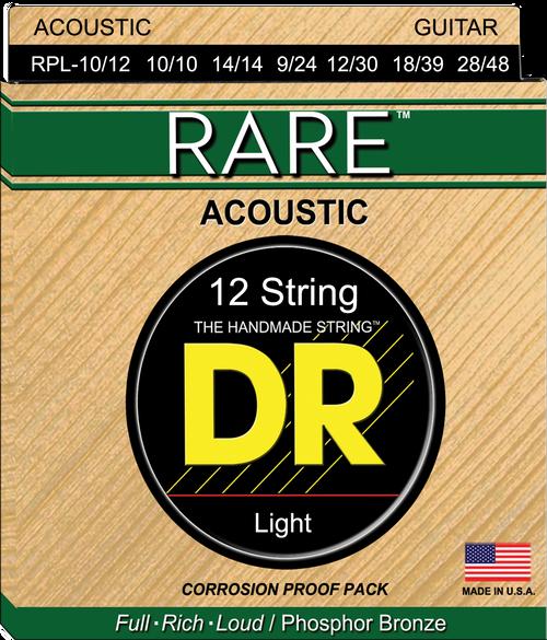 DR Acoustic Rare Phosphor Bronze Corrosion Proof Pack 10-48 12 String Light 10-48