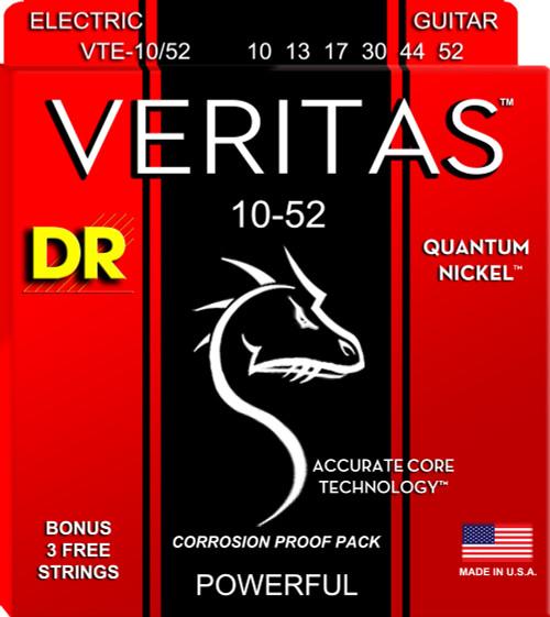 DR Veritas Electric Quantum Nickel 10-52 Corrosion Proof Pack VTE-10/52 10 13 17 30 44 52 W/Bonus of 3 Free Strings