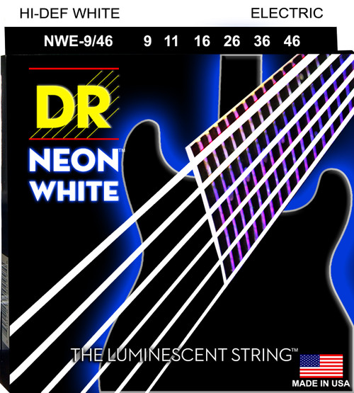 DR Neon White Electric Strings Hi-Def White 9 11 16 26 36 46