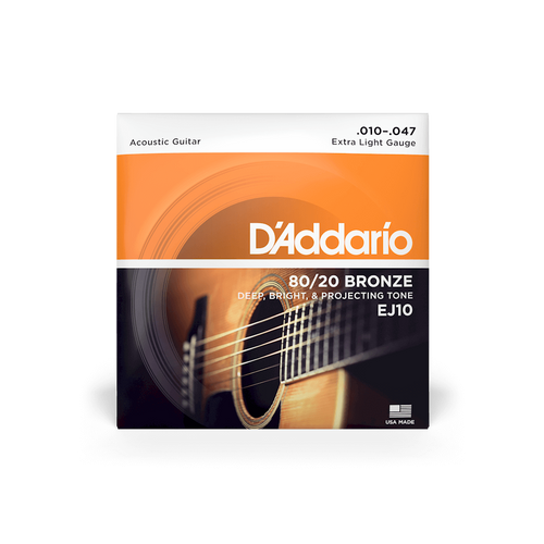 D'Addario Acoustic Guitar Strings Extra Light Gauge 80/20 Bronze EJ10 10 - 47