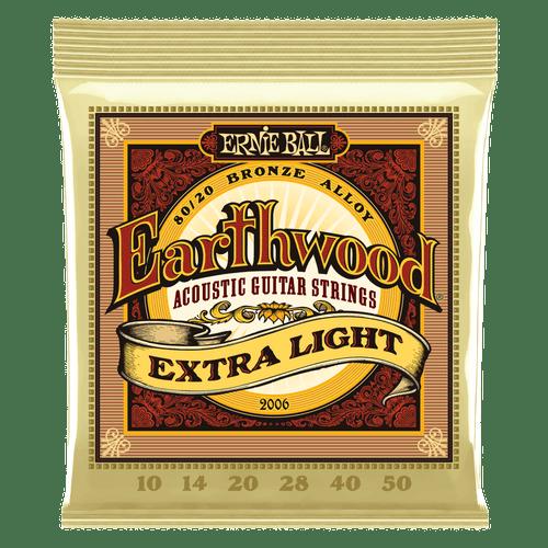 Ernie Ball Earthwood Acoustic 80/20 Bronze Alloy Guitar Strings Extra Light 10,