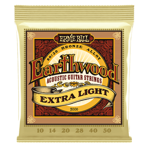 Ernie Ball Earthwood Acoustic 80/20 Bronze Guitar Strings Extra Light