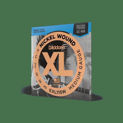 D'Addario EXL115W Electric Guitar Strings Medium Gauge Nickel Wound 11 - 49 Wound Third