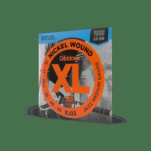 D'Addario EJ22 Electric Guitar Strings Jazz Medium Gauge Nickel Wound 13 - 56 Wound Third