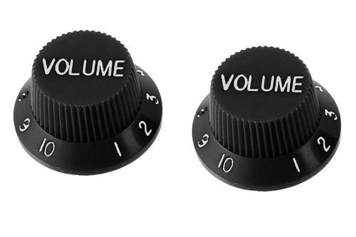 Black Volume Knobs For Stratocaster Set of 2 Plastic