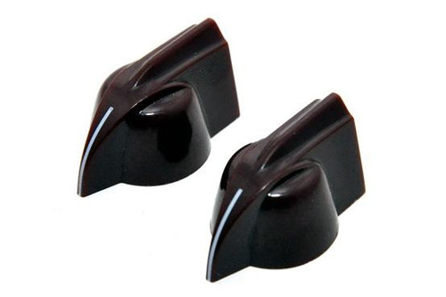 Brown chicken-head pointer knobs for USA solid shaft pots.