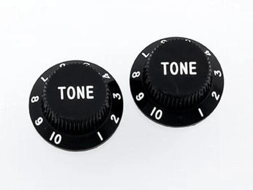 Black Tone Knobs For Stratocaster Set of 2 Plastic