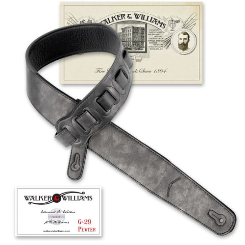 Metallic Pewter Leather Strap with Padded Glove Leather Back