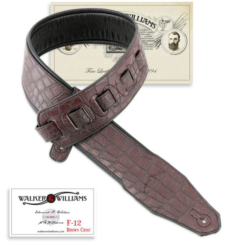 Alligator Texture Dark Brown Strap with Padded Glove Leather Back
