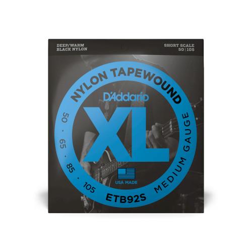 D'Addario Bass Strings Medium Gauge ETB92S Nylon Tapwound, Short  Scale 50-105