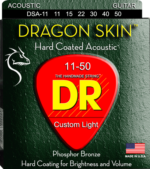 DR Dragon Skin Hard Coated Acoustic Guitar Strings Custom Light 11-50