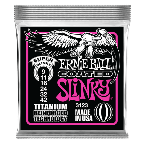 Ernie Ball Super Slinky Coated Titanium RPS Electric Guitar Strings