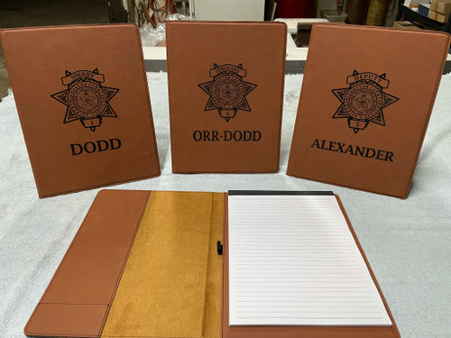 """9 1/2"""" x 12"""" Rawhide Laserable Leatherette Portfolio with Notepad"""