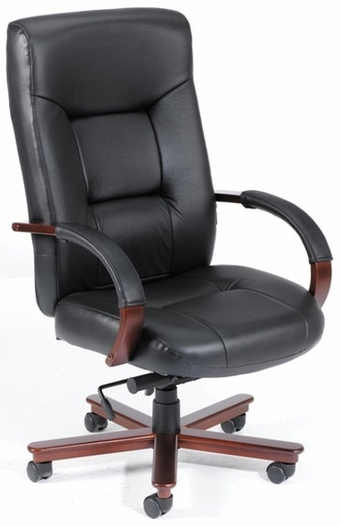 Italian Leather Office Chair with Wood Finish [B8901] -1