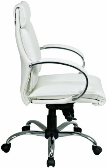Mid Back Executive White Leather Office Chair [7271] -2