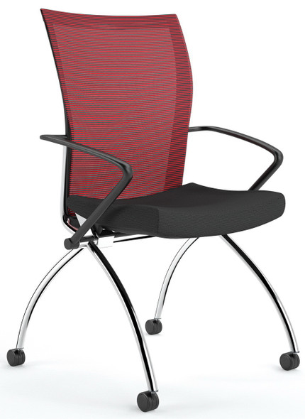 Valore Mesh Back Nesting Chair with Arms [TSH1] -Red