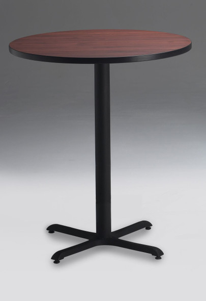 "Mayline Bistro 30"" Round Bar Height Table Black, Regal Mahogany [CA30RHBTRMH]-1"