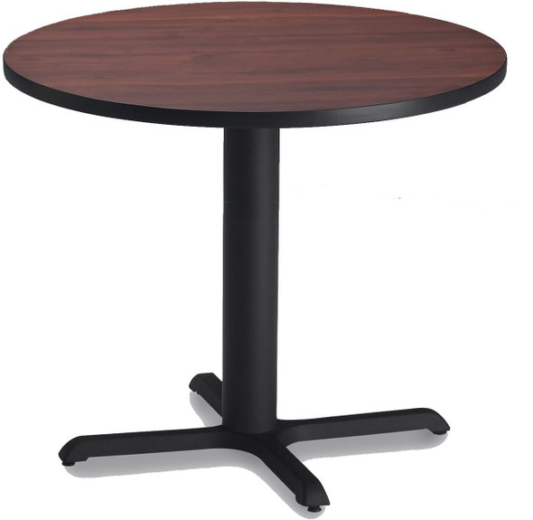 "Mayline Bistro 36"" Round Dining Height Table Black, Regal Mahogany [CA36RLBTRMH]-1"